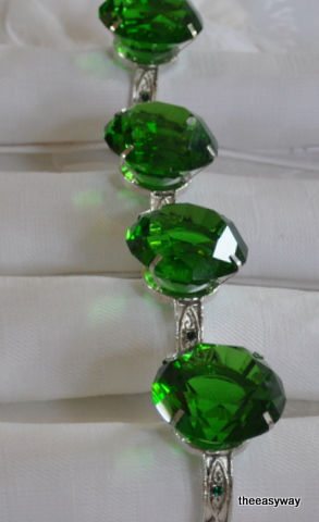 Napkin Rings. Emerald. 4 pieces.