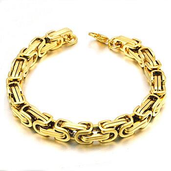 Kejsarlänk -Armband i rostfritt stål -Guld 8mm