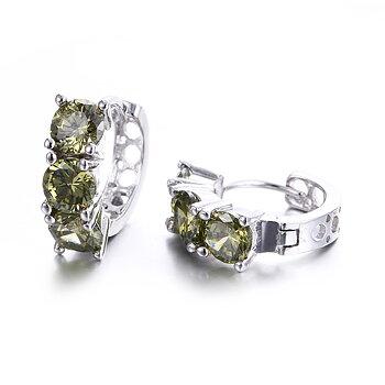 """Örhängen """"Green Vintage"""" med gröna Cubic Zirconia och i 925 Sterling Silverplätering"""