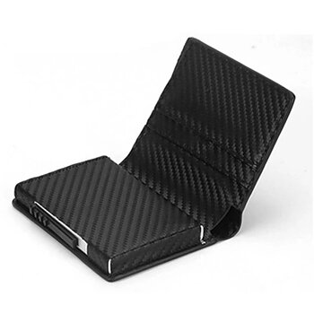 Korthållare med smart automatisk funktion i läder - Carbon Black -med rfid blockering!