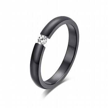 Ring i rostfritt stål med Cubic Zirconia -Svart