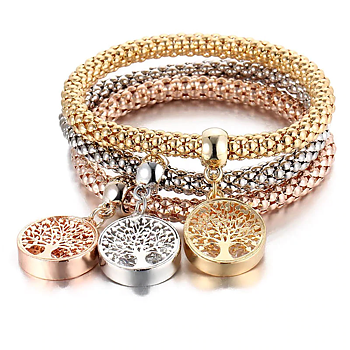 """Armband """"Livets träd Trippel"""" i 18K Guld-, Roséguld-och 925 Sterling Silverplätering"""