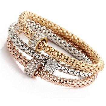 "Armband ""Crystal Round"" i 18K Guld-, 18K Roséguld- och 925 Sterling Silverplätering"