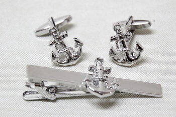 Cufflinks and Tie pin Wheel-Anchor-Sailboat