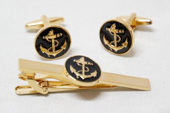 Cufflinks and Tie pin enamelled Anchor