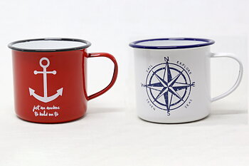 Anchor - Compass Rose Enamel Mug 8x9 cm