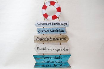 Life buoy sign with Texts 37x80 cm