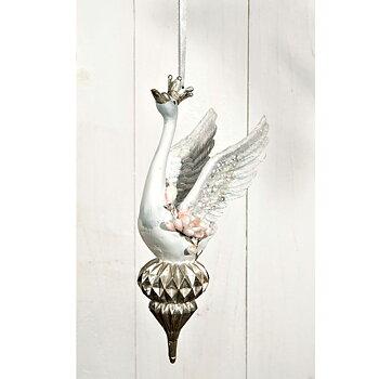 Konstgjord fågel VIT SVAN MED KRONA Hängande Höjd 17 cm