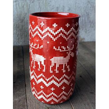 Vas JUL Röd Keramik Höjd 20 cm FÖRBESTÄLL