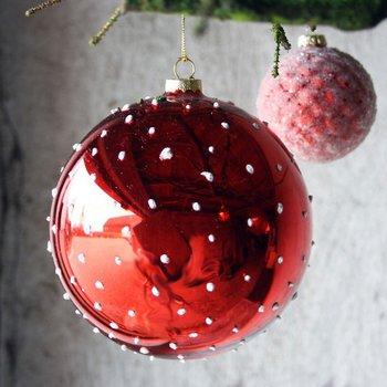 Stor Röd Julgranskula med PRICKAR 15 cm FÖRBESTÄLL