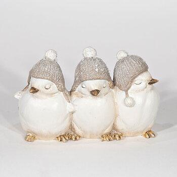 Konstgjorda fåglar på rad TRE VÄNNER MED MÖSSA  Längd 13 cm