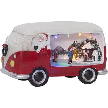 Julbuss med LED-Belysning och rörlig Skridskobana  VINTAGE BUSS Röd 22 cm