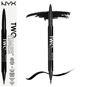 NYX Two Timer Kohl Pencil & Felt Tip Liner - 01 Jet Black