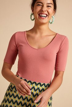 Clarice V top rib tencel Dusty Rose