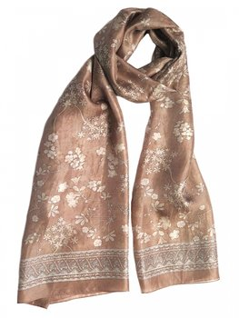 Silk Scarf Japanese Flower Beige