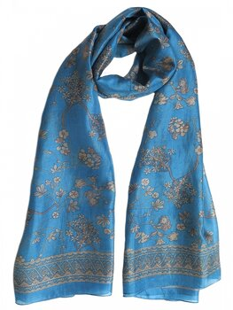 Silk Scarf Japanese Flower Blue