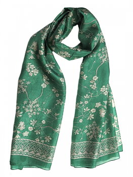 Silk Scarf Japanese Flower Green