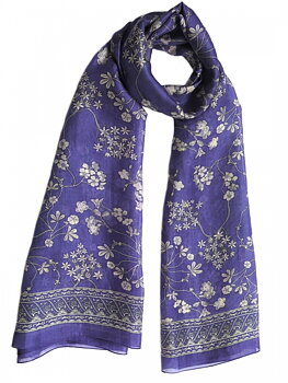 Silk Scarf Japanese Flower Purple