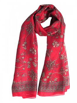 Silk Scarf Japanese Flower Red