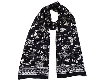Silk Scarf Black/White Flower