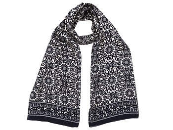 Silk Scarf Black/White Mosaik