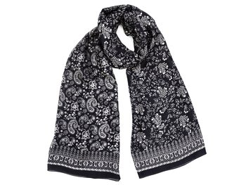 Silk Scarf Black/White Paysly