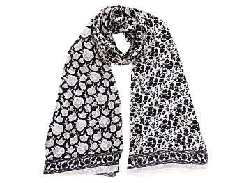 Silk Scarf Black/White Roses