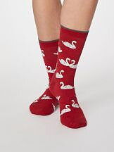 Bamboo Swan Socks Berry Red