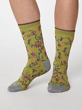 Bamboo Floral socks Pea Green