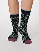 Bamboo Floral socks Dark Navy