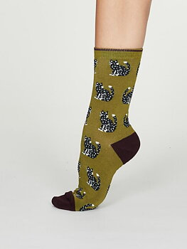 kitty bamboo cat socks green