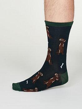 Lyman bamboo dog socks blue
