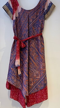 Silk dress xl purpleblue/red(terracotta