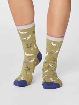 Goosey Lucy bird Bamboo Socks pera green