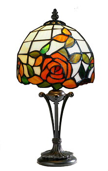 Tiffanylampa Bordslampa Red Rose Ø18cm