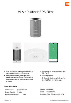 Filter Mi Air Purifier- HEPA 13