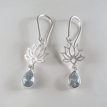 Lotusörhängen med akvamarin, 925-silver