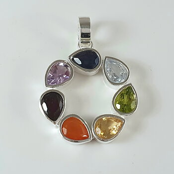 Chakrahänge cirkel, silver-925