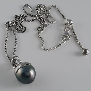 Tahitipärla hänge med kedja, 925-silver