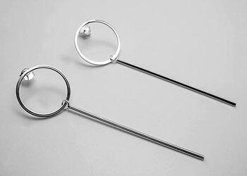 Cirkel med rörlig stav, örstick, 925-silver