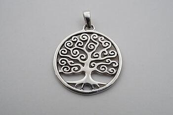 Livets träd virvlig 20mm, hänge 925-silver
