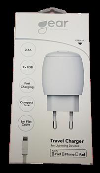 GEAR  2.4A 2 x USB, inkl Lightning kabel 1m.