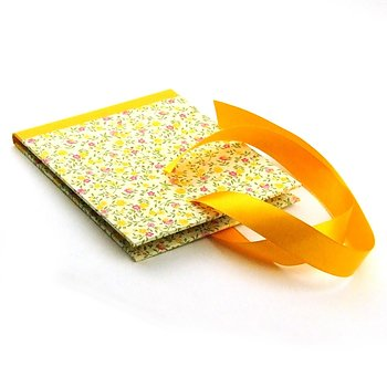 CD Case flower rain yellow pink with satin ribbon