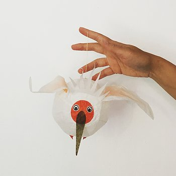 Japanese paper balloon white bird