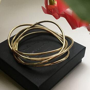 WAVE - armband mässing - rund stav