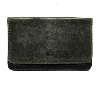 Leather wallet - Greygreen/Black