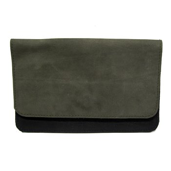 Leather wallet - Greygreen suede/Black