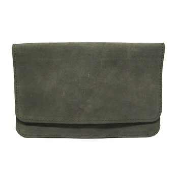 Leather wallet - Greygreen suede