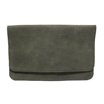 Plånbok i skinn - Grågrön mocka