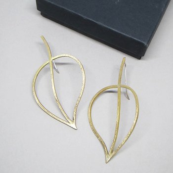 LEAFY  - earrings - brass/silver